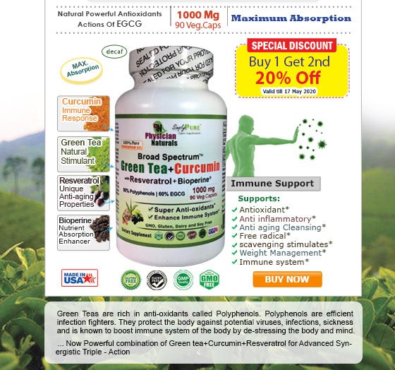 Boost Immune System Naturally with Green Tea+Curcumin Supplements