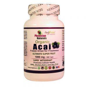Organic Acai Berry 1000mg-100 Vcaps Freeze Dried Pure Acai Berries — Ultimate Super Fruit Contains Antioxidants & Fiber Strengthen Immune System