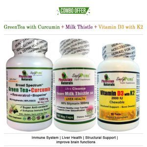 Green Tea Curucmin+Milk thistle+Vitamin D3 with K2 - Pack