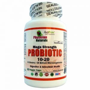 Mega Strength ProBiotic 10-20 with Nutra Flora Veg Caps Strains 20 Billion Micro Organisms Per Serving Digestive and Intestinal Support