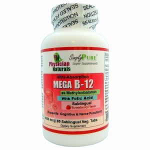 Ultra Absorption Mega Vitamin B-12 with Folic Acid as Methylcobalamin Highest Dosage 5000 mcg 60 Sublingual Lozenges Strawberry Flavor B12 is Essential for Good Health