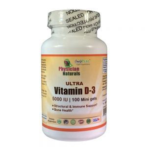 Ultra Vitamin D3 5000 IU Maximum Potency 100 Minigels Highly Absorbable Promotes Immune Bone Muscle and Cardiovascular System Support